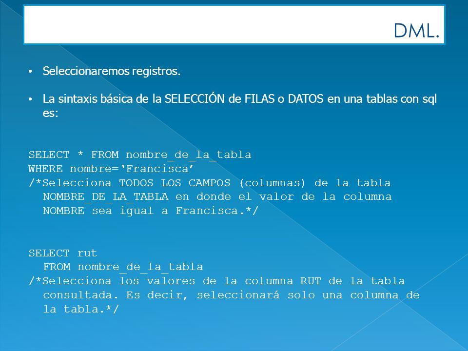 DML. Seleccionaremos registros. La sintaxis básica de la SELECCIÓN de FILAS o DATOS en una tablas con sql es: SELECT * FROM nombre_de_la_tabla WHERE n
