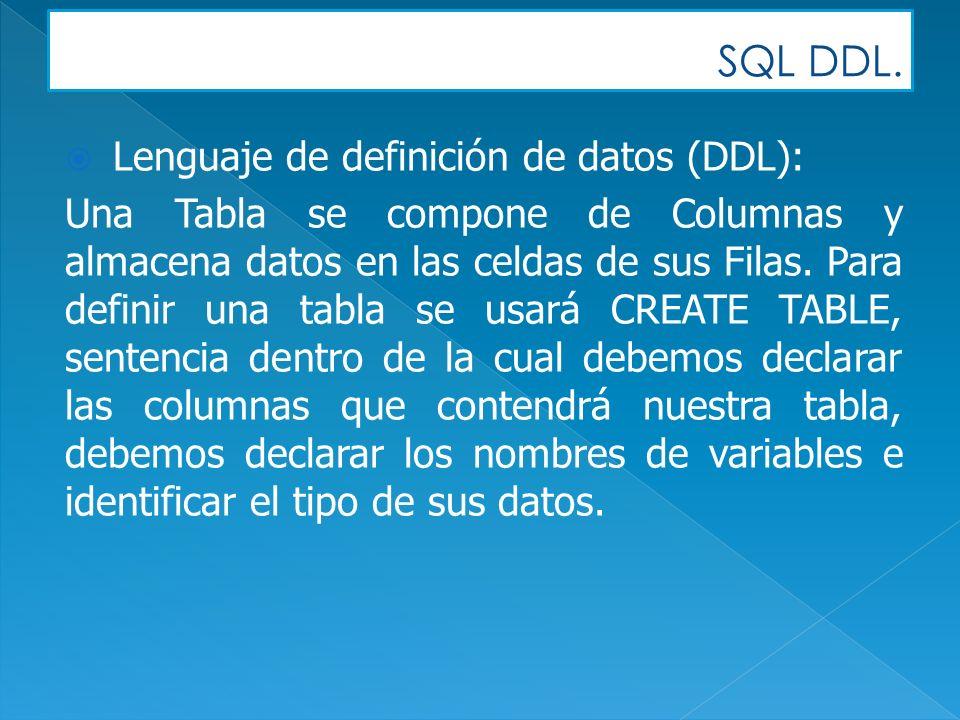 SQL DDL. Lenguaje de definición de datos (DDL): Una Tabla se compone de Columnas y almacena datos en las celdas de sus Filas. Para definir una tabla s
