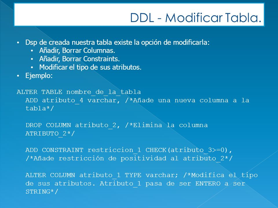 DDL - Modificar Tabla.