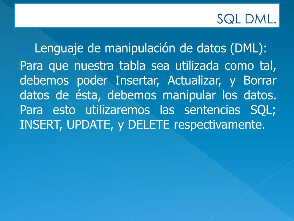 SQL DML. Lenguaje de manipulación de datos (DML): Para que nuestra tabla sea utilizada como tal, debemos poder Insertar, Actualizar, y Borrar datos de