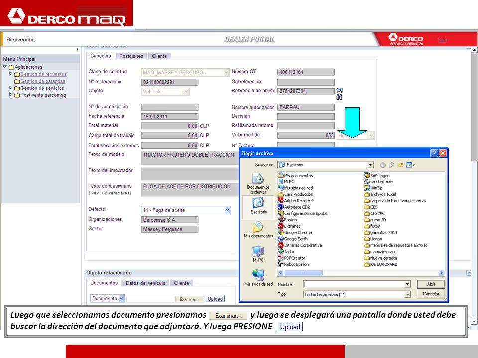 Luego que seleccionamos documento presionamos y luego se desplegará una pantalla donde usted debe buscar la dirección del documento que adjuntará. Y l