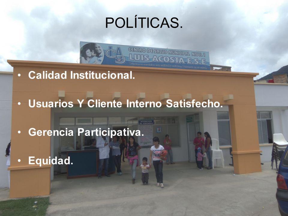 Calidad Institucional. Usuarios Y Cliente Interno Satisfecho. Gerencia Participativa. Equidad. POLÍTICAS.