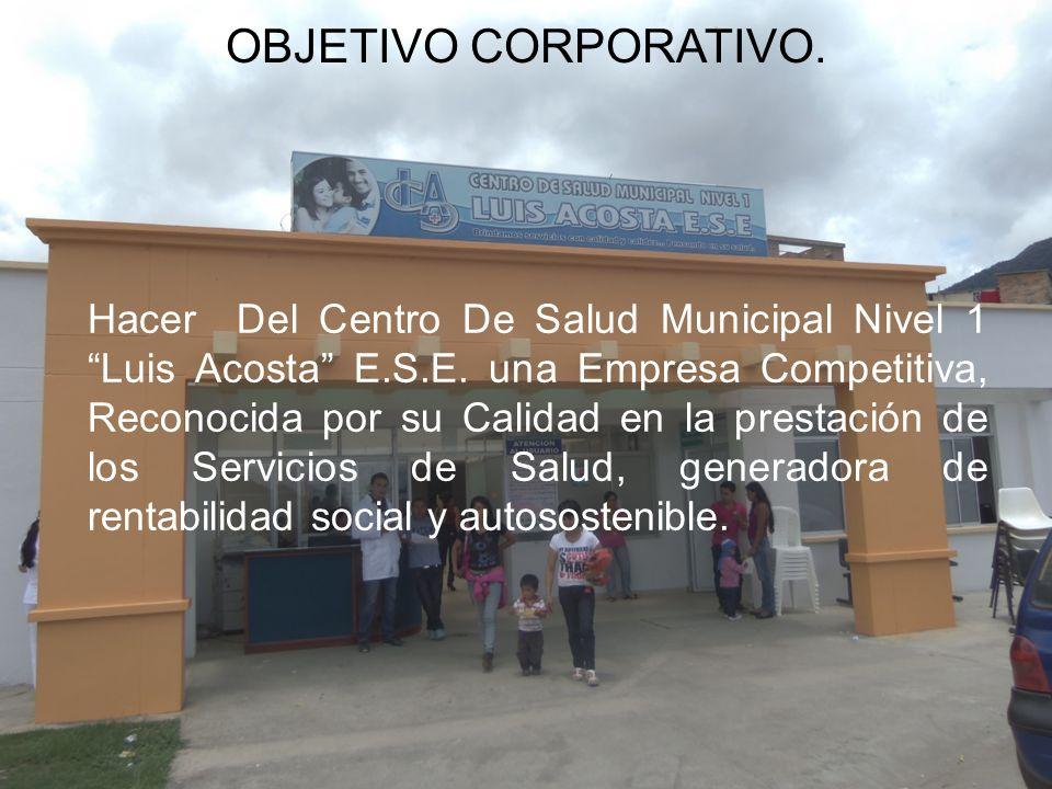 Hacer Del Centro De Salud Municipal Nivel 1 Luis Acosta E.S.E. una Empresa Competitiva, Reconocida por su Calidad en la prestación de los Servicios de