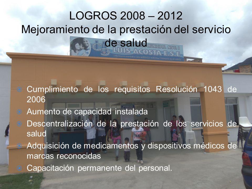 LOGROS 2008 – 2012 Mejoramiento de la prestación del servicio de salud Cumplimiento de los requisitos Resolución 1043 de 2006 Aumento de capacidad ins