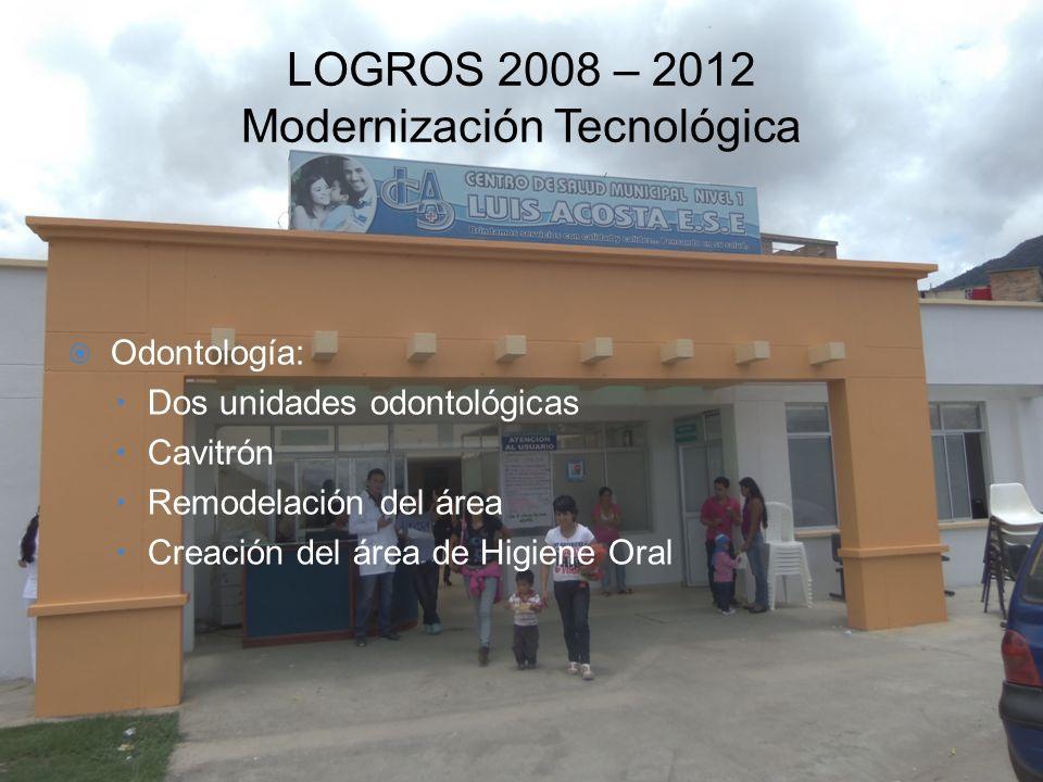 LOGROS 2008 – 2012 Modernización Tecnológica Odontología: –Dos unidades odontológicas –Cavitrón –Remodelación del área –Creación del área de Higiene O