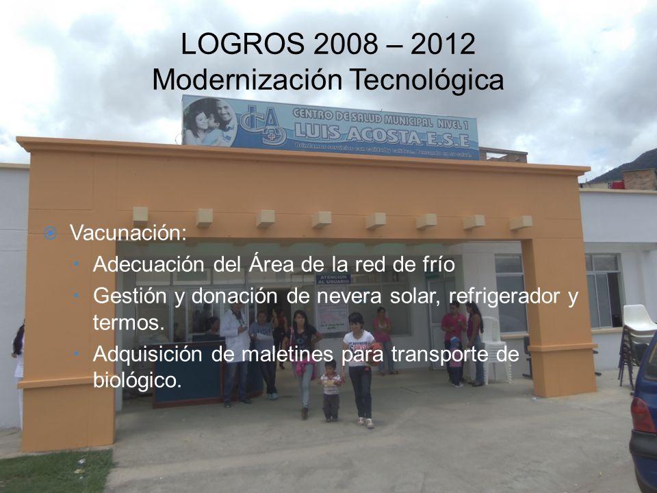 LOGROS 2008 – 2012 Modernización Tecnológica Vacunación: –Adecuación del Área de la red de frío –Gestión y donación de nevera solar, refrigerador y te