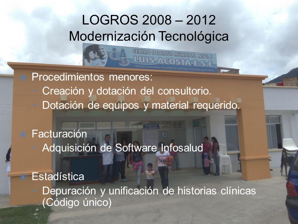 LOGROS 2008 – 2012 Modernización Tecnológica Procedimientos menores: –Creación y dotación del consultorio. –Dotación de equipos y material requerido.
