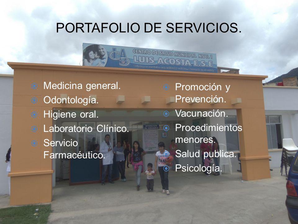 PORTAFOLIO DE SERVICIOS. Medicina general. Odontología. Higiene oral. Laboratorio Clínico. Servicio Farmacéutico. Promoción y Prevención. Vacunación.