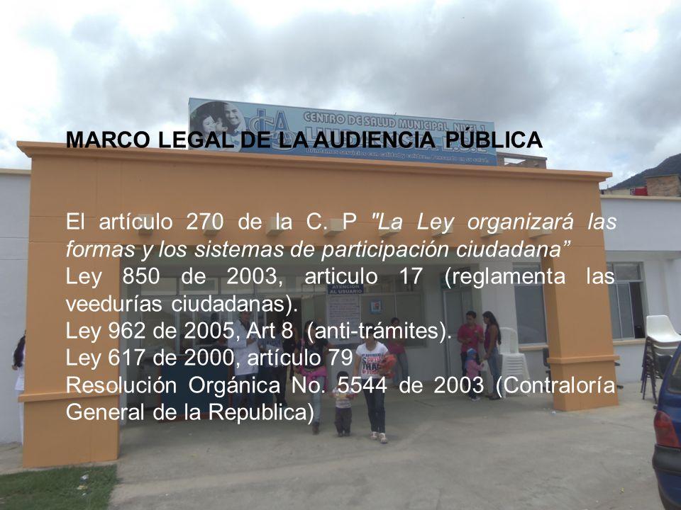 MARCO LEGAL DE LA AUDIENCIA PÚBLICA El artículo 270 de la C. P
