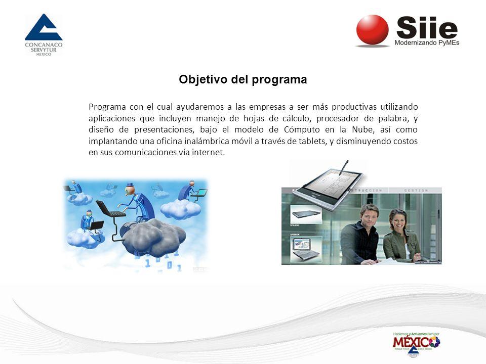 Objetivo del programa Programa con el cual ayudaremos a las empresas a ser más productivas utilizando aplicaciones que incluyen manejo de hojas de cál