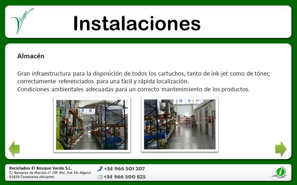 Instalaciones Almacén Gran infraestructura para la disposición de todos los cartuchos, tanto de ink-jet como de tóner, correctamente referenciados par