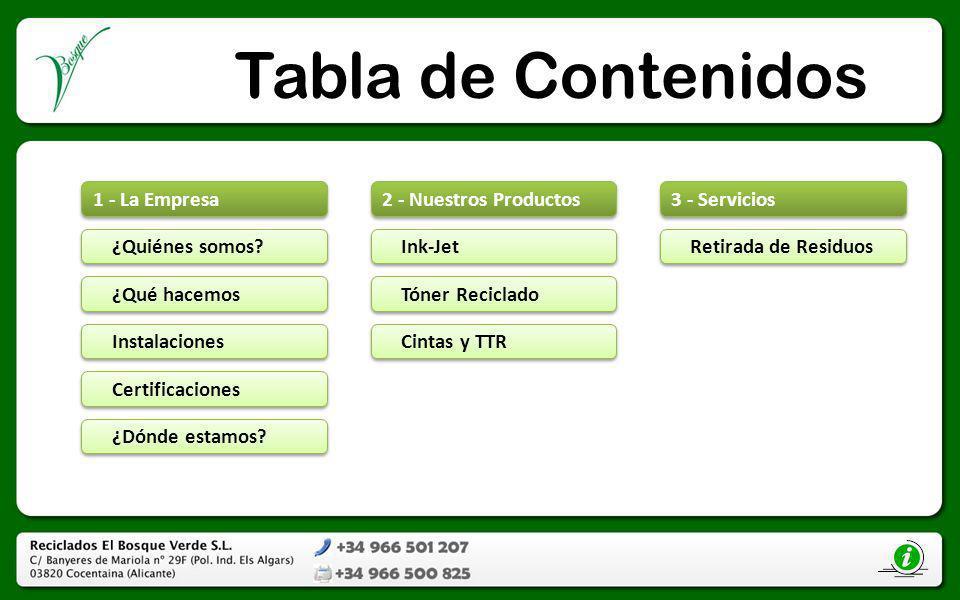Tabla de Contenidos 1 - La Empresa ¿Quiénes somos? ¿Qué hacemos Instalaciones Certificaciones ¿Dónde estamos? 2 - Nuestros Productos Ink-Jet Tóner Rec