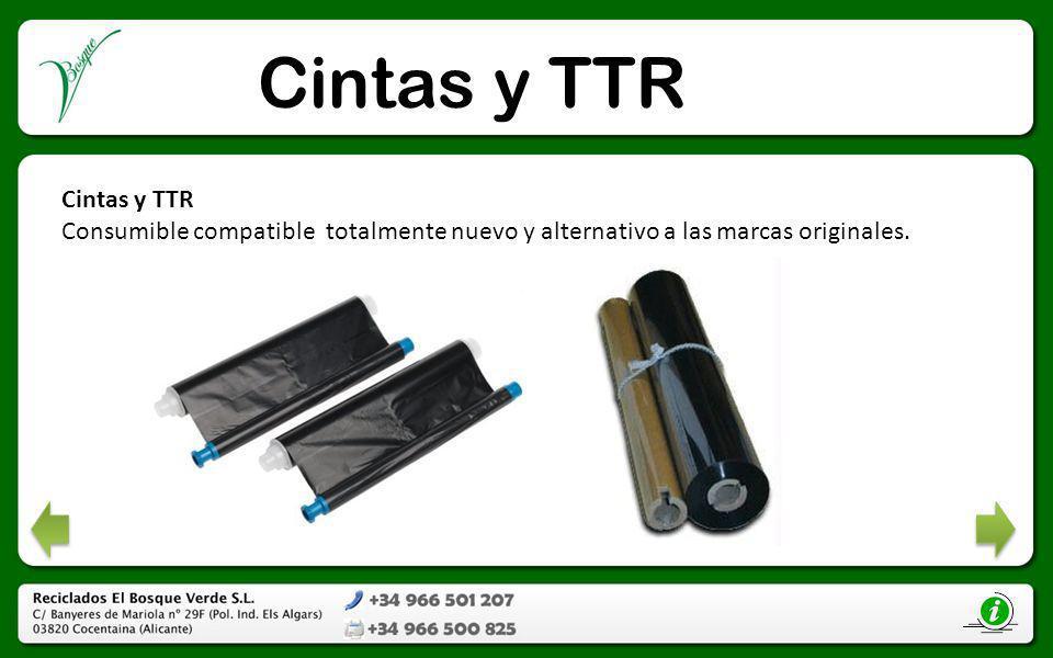 Cintas y TTR Consumible compatible totalmente nuevo y alternativo a las marcas originales.