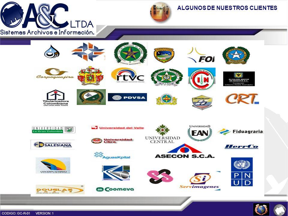 ALGUNOS DE NUESTROS CLIENTES CODIGO: GC-R-01 VERSION: 1