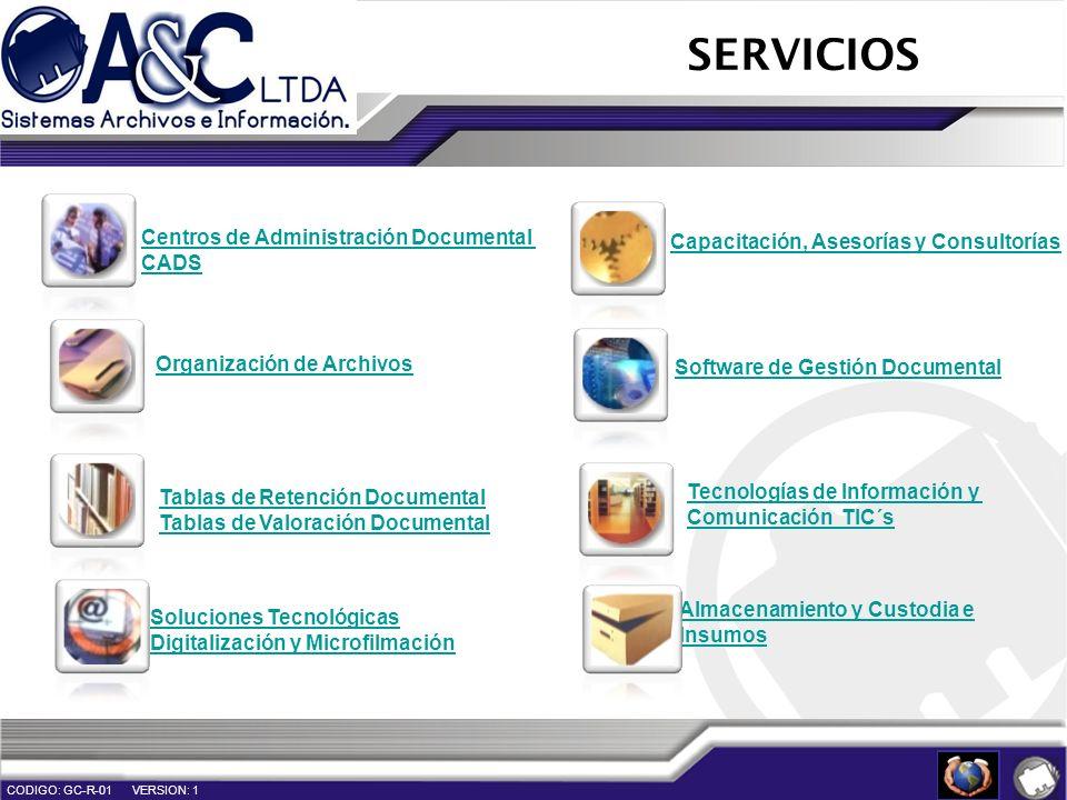 Tablas de Retención Documental Tablas de Valoración Documental Organización de Archivos Soluciones Tecnológicas Digitalización y Microfilmación Softwa