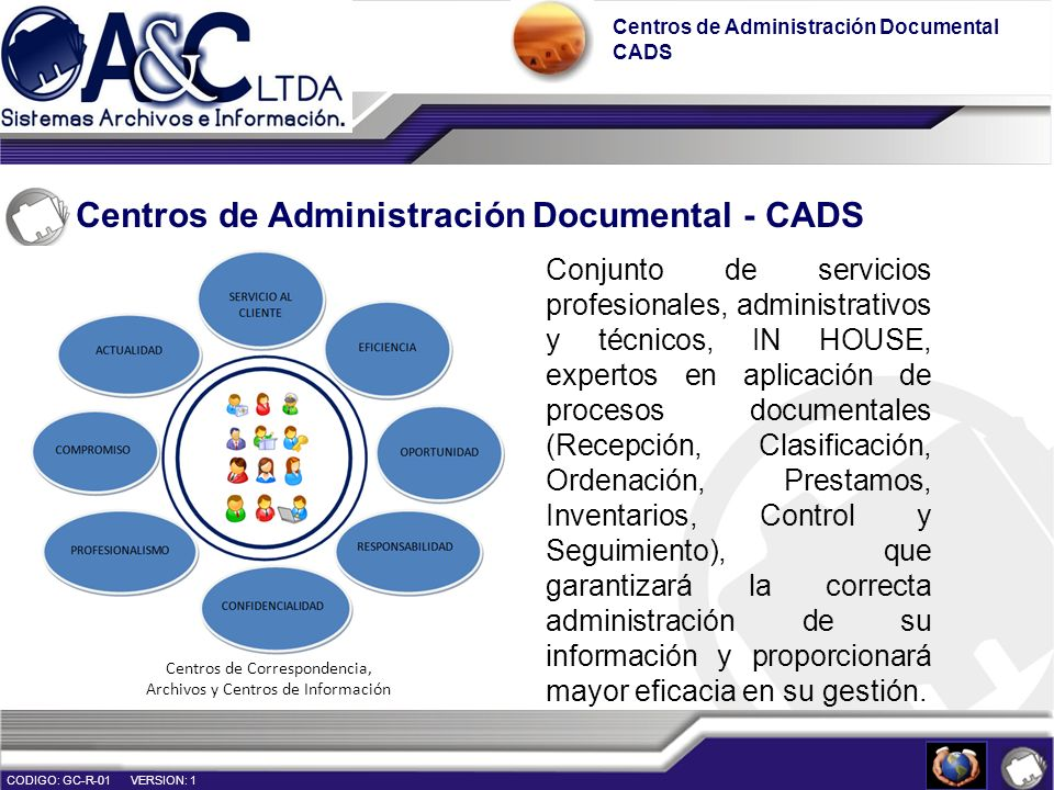 Organización de Archivos Administración de archivos, ofreciendo servicios de Gestión Documental con personal idóneo y optimización de recursos con criterios de calidad, implementación de nuevas tecnologías (TIC´s), procedimientos estandarizados y demás requerimientos de la organización.
