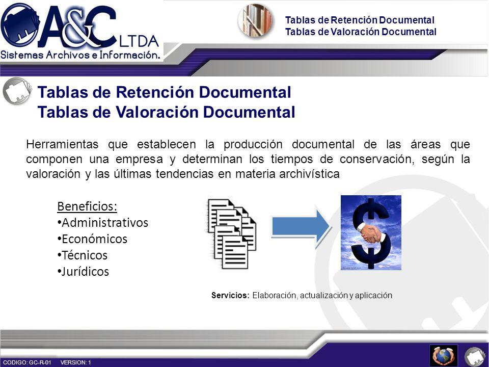 Servicios: Elaboración, actualización y aplicación Tablas de Retención Documental Tablas de Valoración Documental Tablas de Retención Documental Tabla
