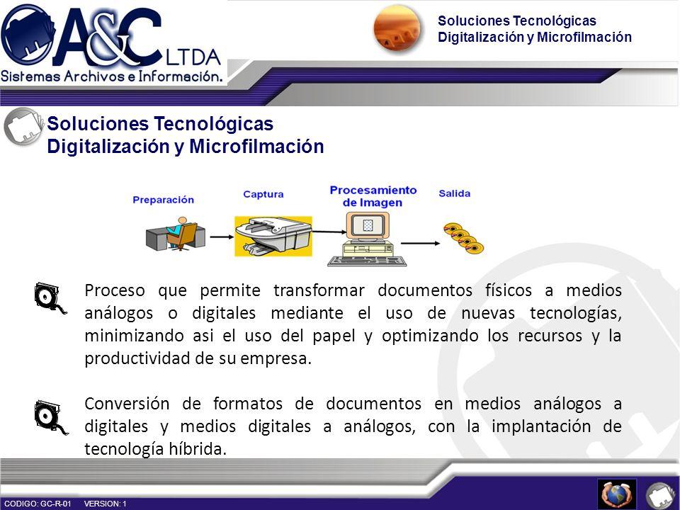 Soluciones Tecnológicas Digitalización y Microfilmación Soluciones Tecnológicas Digitalización y Microfilmación CODIGO: GC-R-01 VERSION: 1 Proceso que
