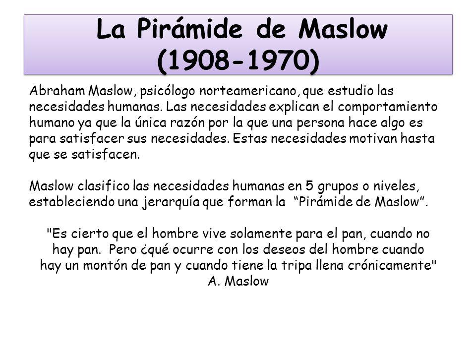 La Pirámide de Maslow (1908-1970) Abraham Maslow, psicólogo norteamericano, que estudio las necesidades humanas. Las necesidades explican el comportam