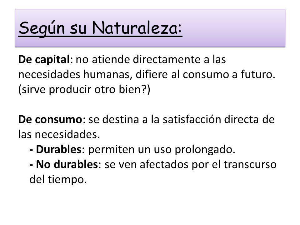 Según su Naturaleza: De capital: no atiende directamente a las necesidades humanas, difiere al consumo a futuro. (sirve producir otro bien?) De consum