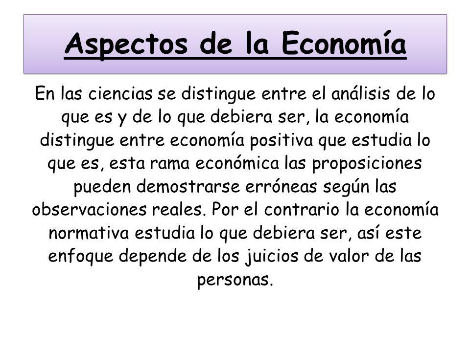 Aspectos de la Economía En las ciencias se distingue entre el análisis de lo que es y de lo que debiera ser, la economía distingue entre economía posi