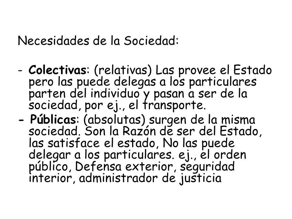 Necesidades de la Sociedad: -Colectivas: (relativas) Las provee el Estado pero las puede delegas a los particulares parten del individuo y pasan a ser