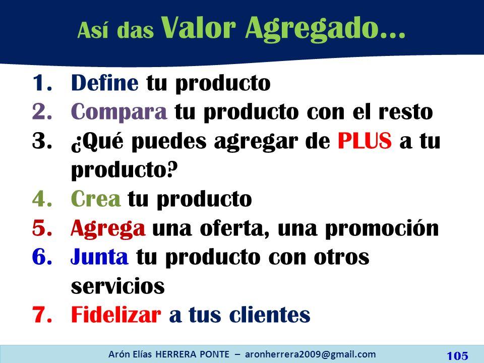 1.Define tu producto 2.Compara tu producto con el resto 3.¿Qué puedes agregar de PLUS a tu producto? 4.Crea tu producto 5.Agrega una oferta, una promo