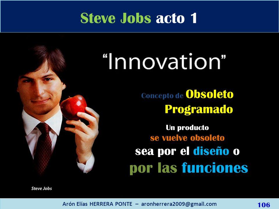 Concepto de Obsoleto Programado Un producto se vuelve obsoleto sea por el diseño o por las funciones Steve Jobs acto 1 Arón Elías HERRERA PONTE – aron