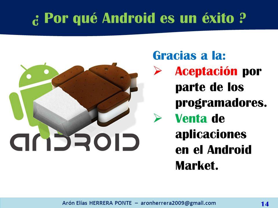 Gracias a la: Aceptación por parte de los programadores. Venta de aplicaciones en el Android Market. Arón Elías HERRERA PONTE – aronherrera2009@gmail.