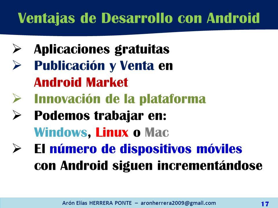 Aplicaciones gratuitas Publicación y Venta en Android Market Innovación de la plataforma Podemos trabajar en: Windows, Linux o Mac El número de dispos