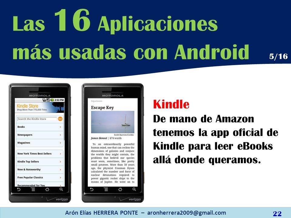 Kindle De mano de Amazon tenemos la app oficial de Kindle para leer eBooks allá donde queramos. Arón Elías HERRERA PONTE – aronherrera2009@gmail.com L