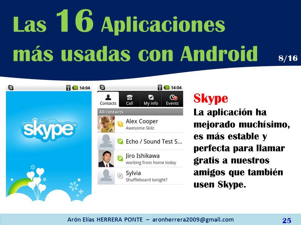 Skype La aplicación ha mejorado muchísimo, es más estable y perfecta para llamar gratis a nuestros amigos que también usen Skype. Arón Elías HERRERA P