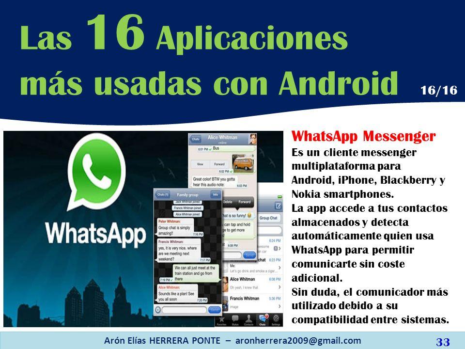 WhatsApp Messenger Es un cliente messenger multiplataforma para Android, iPhone, Blackberry y Nokia smartphones. La app accede a tus contactos almacen