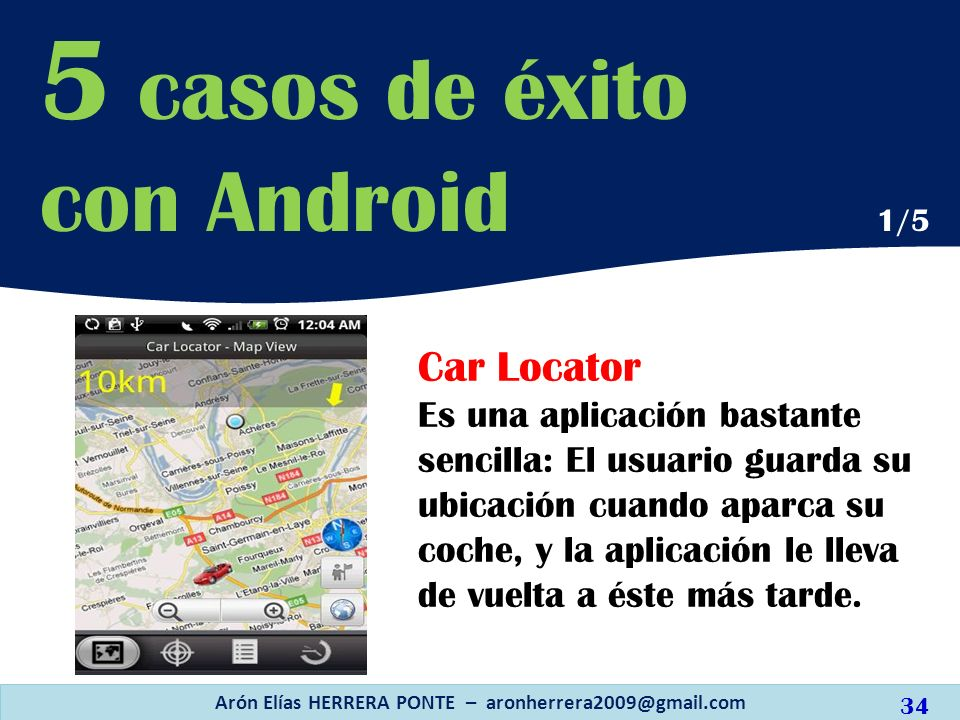 Car Locator Es una aplicación bastante sencilla: El usuario guarda su ubicación cuando aparca su coche, y la aplicación le lleva de vuelta a éste más