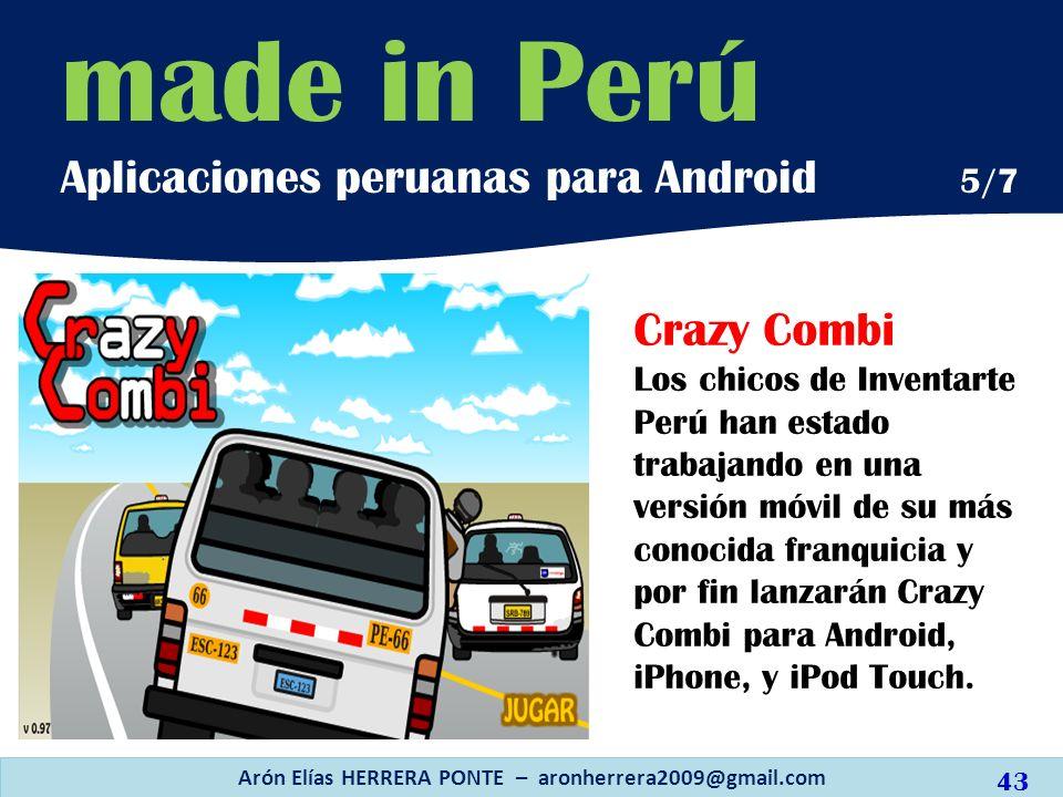 Crazy Combi Los chicos de Inventarte Perú han estado trabajando en una versión móvil de su más conocida franquicia y por fin lanzarán Crazy Combi para