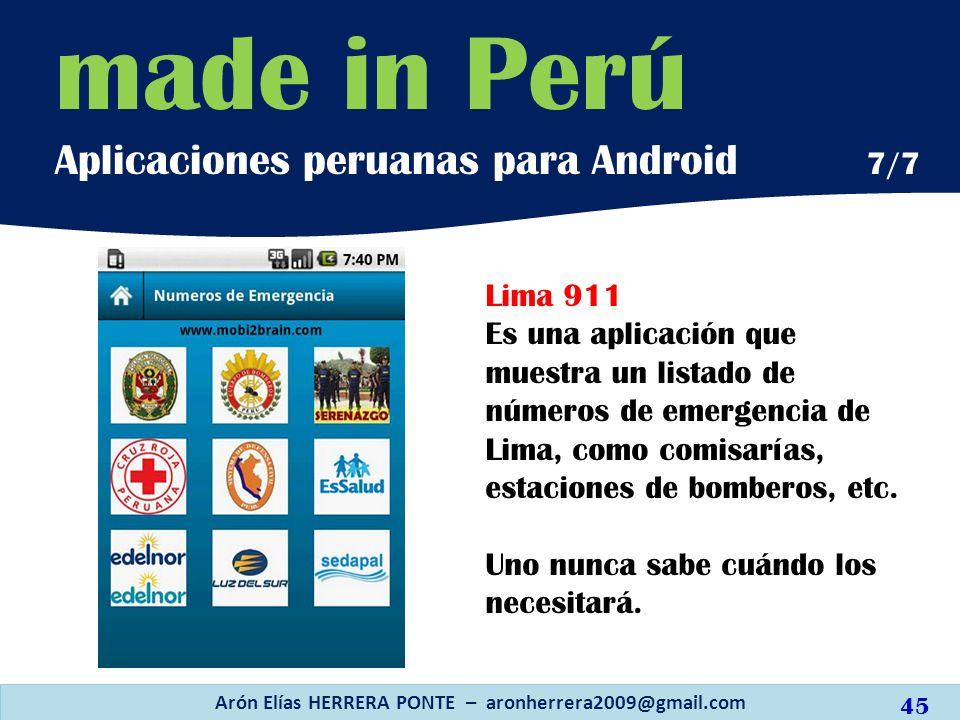 Lima 911 Es una aplicación que muestra un listado de números de emergencia de Lima, como comisarías, estaciones de bomberos, etc. Uno nunca sabe cuánd