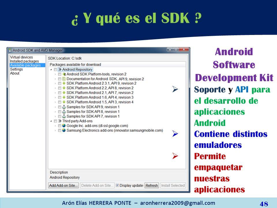 ¿ Y qué es el SDK ? Arón Elías HERRERA PONTE – aronherrera2009@gmail.com Android Software Development Kit Soporte y API para el desarrollo de aplicaci