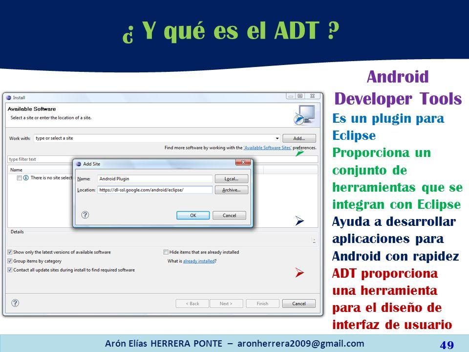 ¿ Y qué es el ADT ? Arón Elías HERRERA PONTE – aronherrera2009@gmail.com Android Developer Tools Es un plugin para Eclipse Proporciona un conjunto de