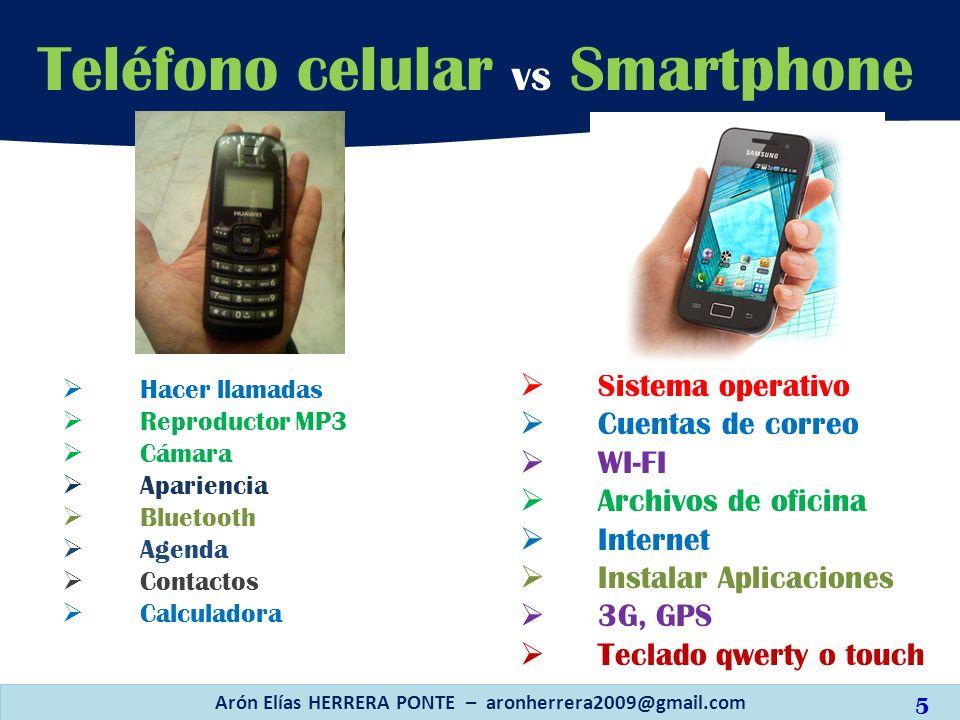 Hacer llamadas Reproductor MP3 Cámara Apariencia Bluetooth Agenda Contactos Calculadora Teléfono celular vs Smartphone Arón Elías HERRERA PONTE – aron