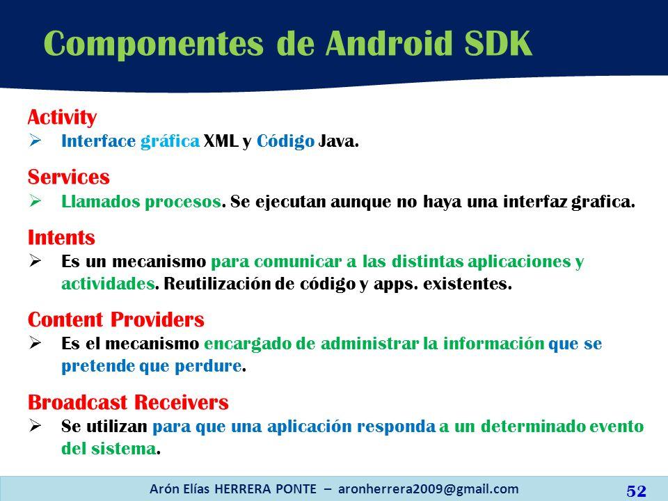 Componentes de Android SDK Arón Elías HERRERA PONTE – aronherrera2009@gmail.com Activity Interface gráfica XML y Código Java. Services Llamados proces