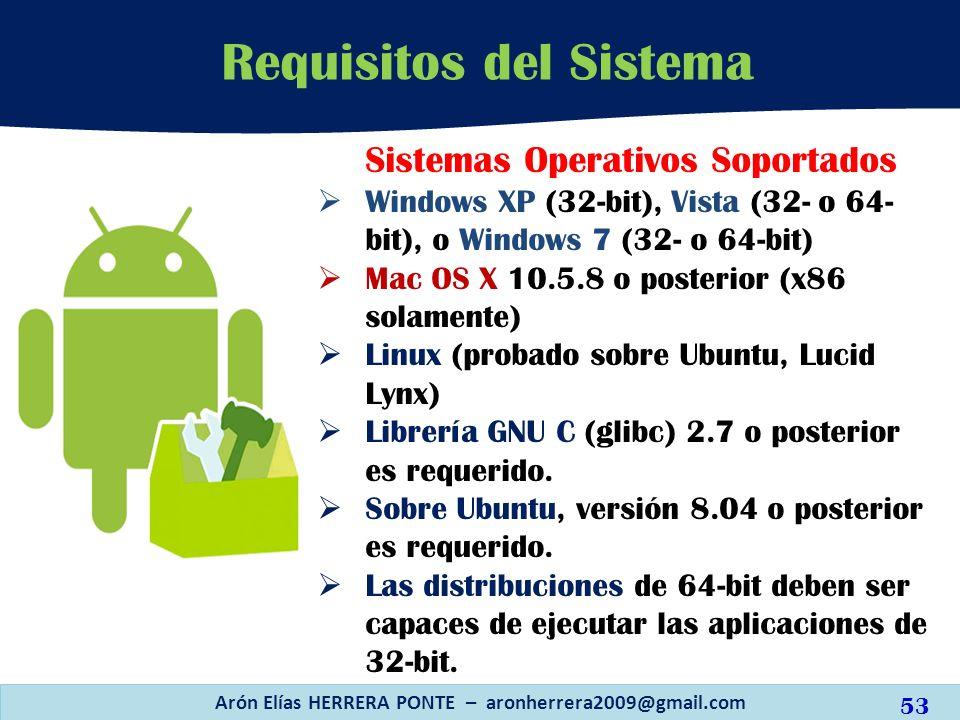 Requisitos del Sistema Arón Elías HERRERA PONTE – aronherrera2009@gmail.com 53 Sistemas Operativos Soportados Windows XP (32-bit), Vista (32- o 64- bi