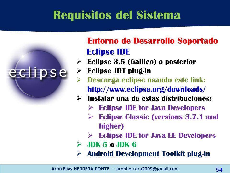 Arón Elías HERRERA PONTE – aronherrera2009@gmail.com 54 Requisitos del Sistema Entorno de Desarrollo Soportado Eclipse IDE Eclipse 3.5 (Galileo) o pos