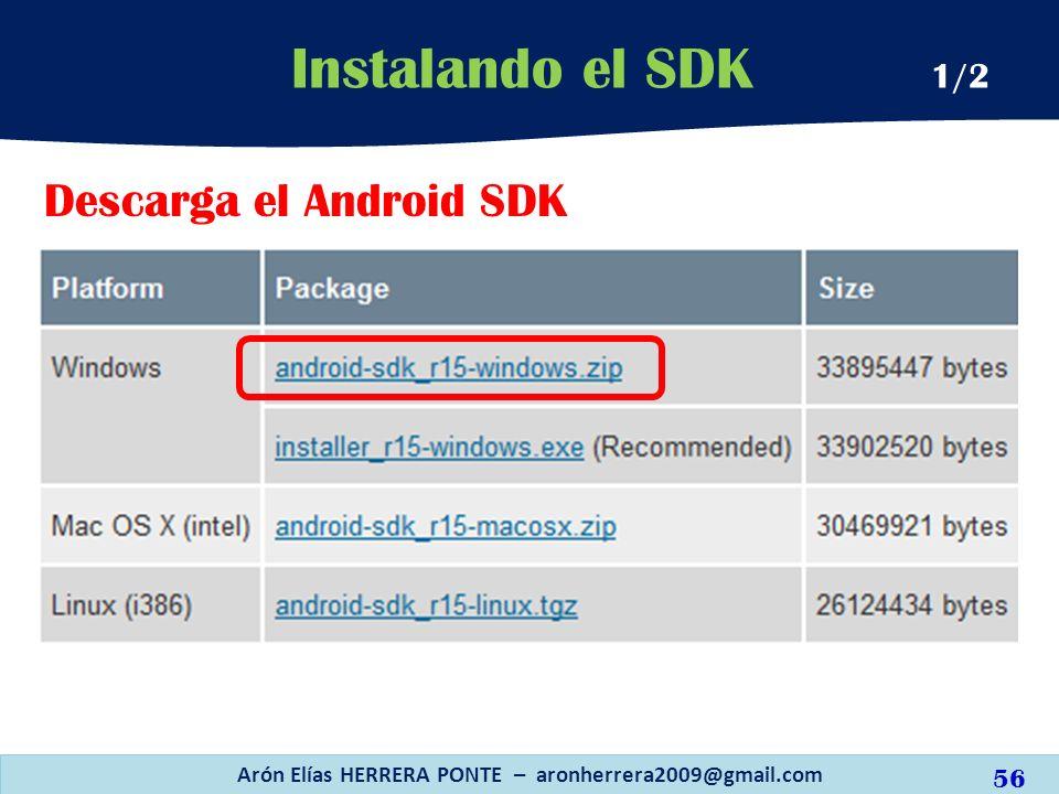 Descarga el Android SDK Instalando el SDK 1/2 Arón Elías HERRERA PONTE – aronherrera2009@gmail.com 56