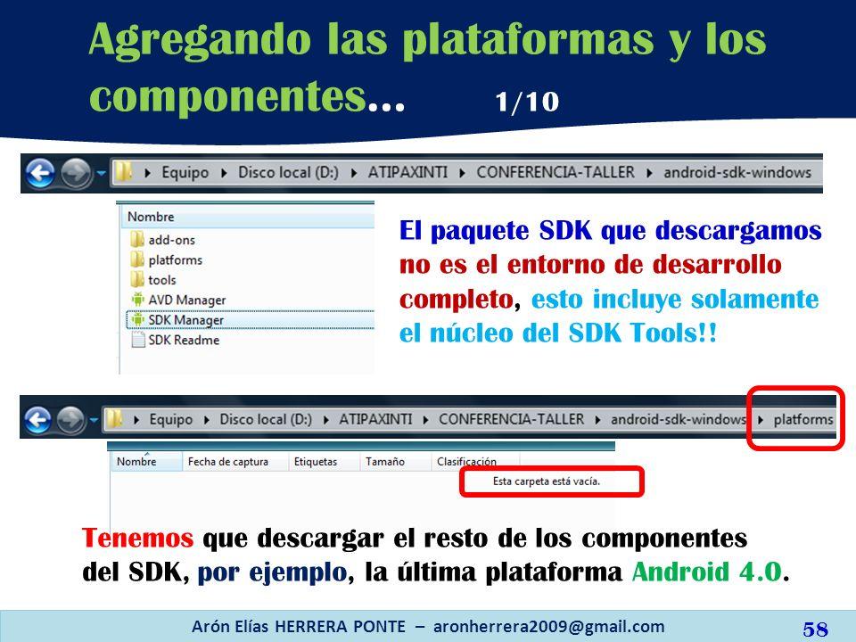 El paquete SDK que descargamos no es el entorno de desarrollo completo, esto incluye solamente el núcleo del SDK Tools!! Arón Elías HERRERA PONTE – ar
