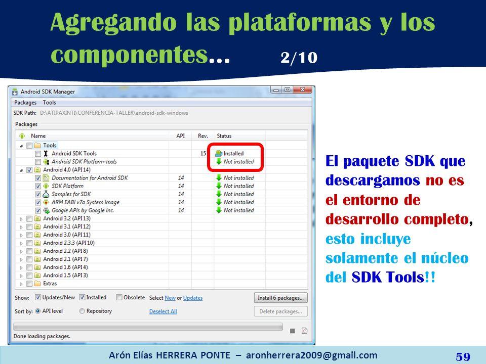 Arón Elías HERRERA PONTE – aronherrera2009@gmail.com 59 Agregando las plataformas y los componentes… 2/10 El paquete SDK que descargamos no es el ento