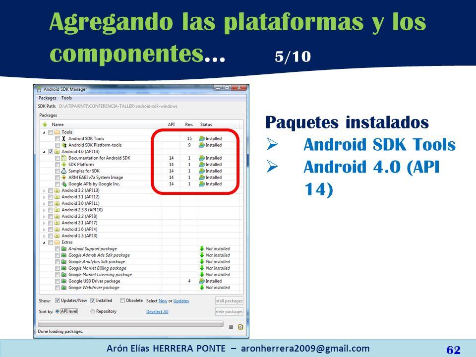 Paquetes instalados Android SDK Tools Android 4.0 (API 14) Arón Elías HERRERA PONTE – aronherrera2009@gmail.com 62 Agregando las plataformas y los com