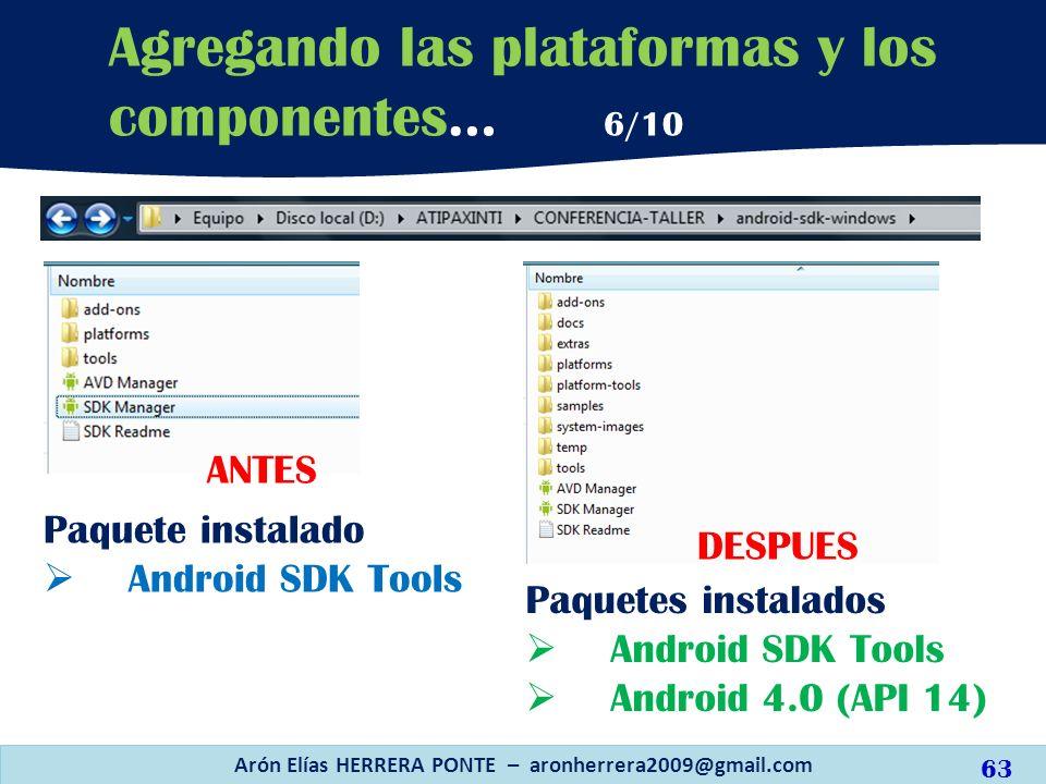 Arón Elías HERRERA PONTE – aronherrera2009@gmail.com 63 Agregando las plataformas y los componentes… 6/10 ANTES Paquetes instalados Android SDK Tools