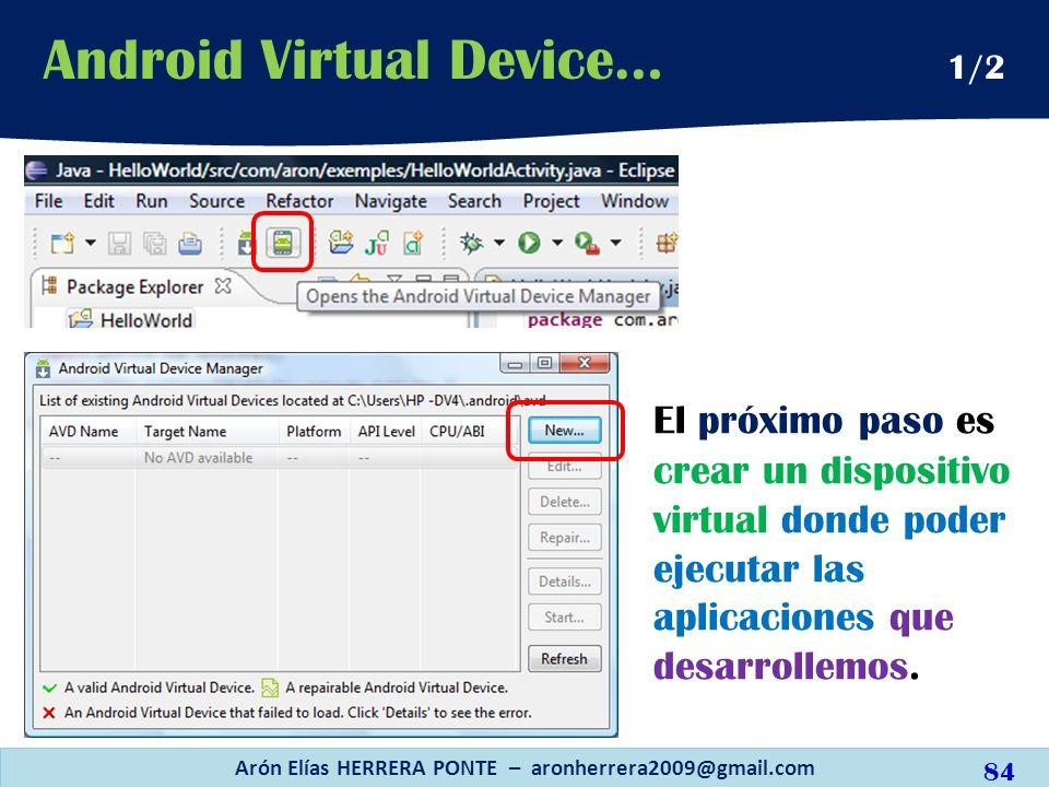 El próximo paso es crear un dispositivo virtual donde poder ejecutar las aplicaciones que desarrollemos. Arón Elías HERRERA PONTE – aronherrera2009@gm