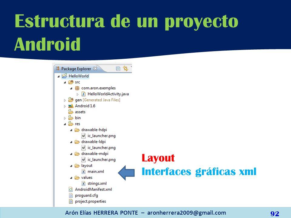 Layout Interfaces gráficas xml Estructura de un proyecto Android Arón Elías HERRERA PONTE – aronherrera2009@gmail.com 92