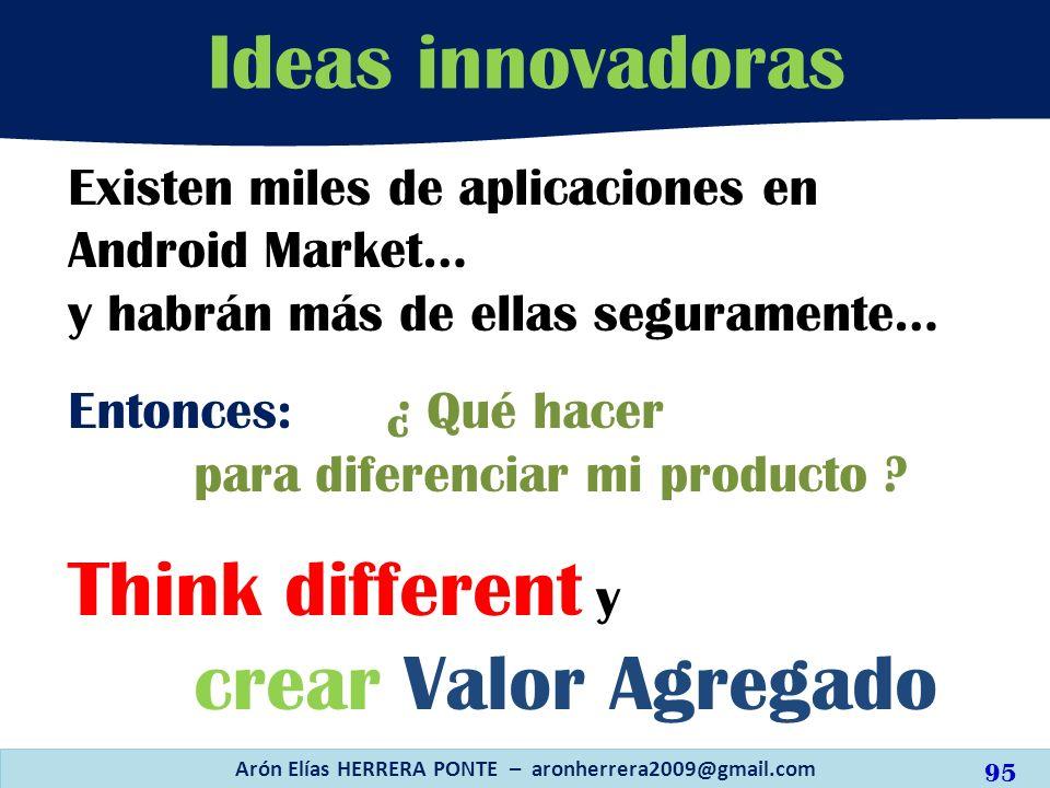 Ideas innovadoras Arón Elías HERRERA PONTE – aronherrera2009@gmail.com Existen miles de aplicaciones en Android Market… y habrán más de ellas segurame